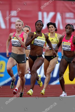 Jemma Simpson of Great Britain Races Next to Marilyn Okoro to Win the Women's 800m at the Aviva London Grand Prix United Kingdom London