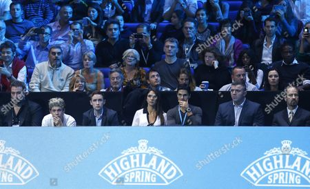 Niall Horan From the Band One Direction Front Row 2nd Left Looks On During the Atp World Tour Singles Final at the O2 Arena 2013 Also Pictured is Arsenal Player Mikel Arteta and His Wife Lorena Bernal Gb London