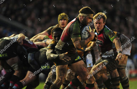 Nick Easter of Harlequins is Tackled by Serge Betsen of London Wasps United Kingdom Twickenham