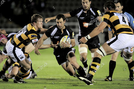Micky Young of Newcastle Falcons Breaks For the Try Line Past Tom Rees of London Wasps United Kingdom Newcastle