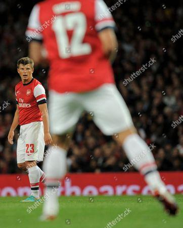 Andrei Arshavin of Arsenal Looks Towards Team-mate Oliver Giroud United Kingdom London