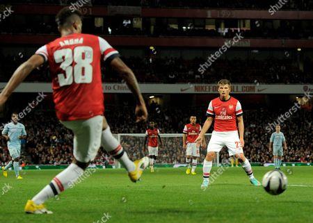 Andrei Arshavin of Arsenal Watches Martin Angha Pass the Ball United Kingdom London