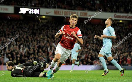 Andrei Arshavin of Arsenal Celebrates His Goal 3-0 United Kingdom London