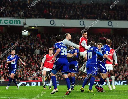 Laurent Koscielny of Arsenal Scores Past Goalkeeper Marton Fulop of Ipswich Town United Kingdom London