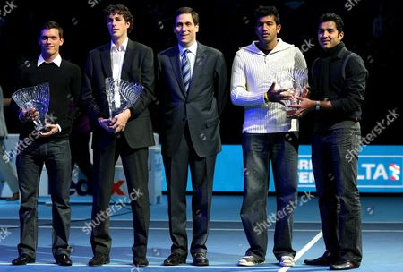 Tobias Kamke of Germany Robin Haase of Holland Rohan Bopanna of India and Aisam Qureshi of Pakistan Receive Atp Awards From Adam Helfant at the Barclays Atp World Tour Finals London 2010
