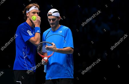 Wesley Moodie of South Africa and Dick Norman of Belgium in Action at the Barclays Atp World Tour Finals London 2010