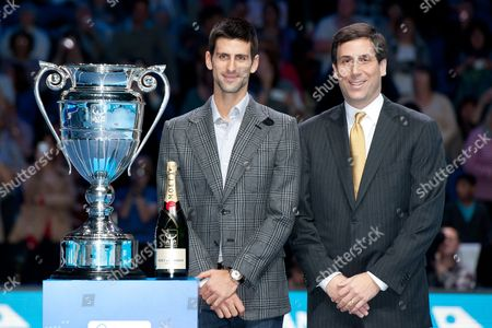 Stock Image of Atp Tour Chairman Adam Helfant Along Side Novak Djokovic of Serbia After Winning His No 1 Ranking and the Atp World Tour Trophy Bpi / Red Photographic
