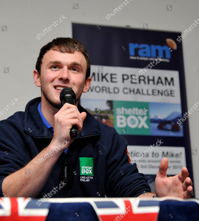 Stock Image of 20 Year-old Mike Perham of Potters Bar Speaks to the Media About His Journey After Arriving Back at the Raf Museum in North London After Successfully Circumnavigating the Globe in A Spaceship Camper Van Raising Awareness For Shelter Box - Disaster Relief Charity