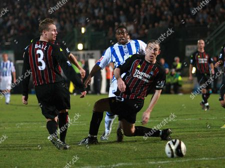 Joe Anyinsah of Brighton and Hove Albion Scores the Second Goal Past Thre Manchester City Defenders Richard Dunne (r) and Michael Ball United Kingdom Brighton