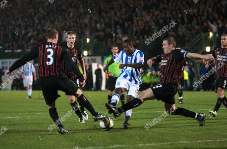 Joe Anyinsah of Brighton and Hove Albion Scores the Second Goal Past Thre Manchester City Defenders Richard Dunne (r) Michael Ball (l) and Michael Johnson United Kingdom Brighton