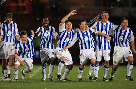 (l to R) Dean Cox Joe Anyinsah Adam El-abd Steven Thomson Steve Cook and Andrew Whing of Brighton and Hove Albion Team Celebrate Together As They Win the Penalty Shoot out United Kingdom Brighton