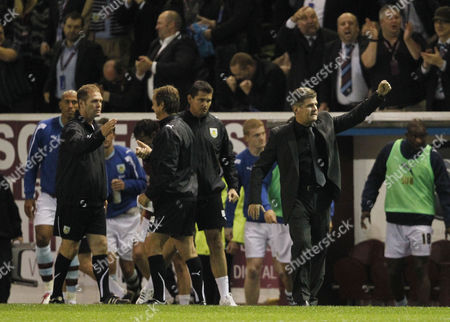 Stock Photo of Burnley Manger Brian Laws Celebrates at the End of the Game United Kingdom Burnley