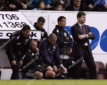 Burnley Manager Brian Laws (far Right) Looks Dejected United Kingdom Burnley