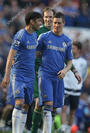 Chelsea's Paulo Ferreira Chelsea's Fernando Torres and Chelsea's Petr Cech Celebrate After the Final Whistle United Kingdom London