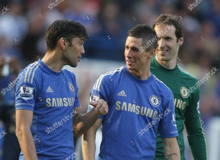 Chelsea's Fernando Torres and Chelsea's Paulo Ferreira Smile After Todays Match United Kingdom London
