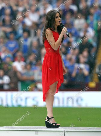 Faryl Smith Sings the National Anthem Before the Game United Kingdom Birmingham