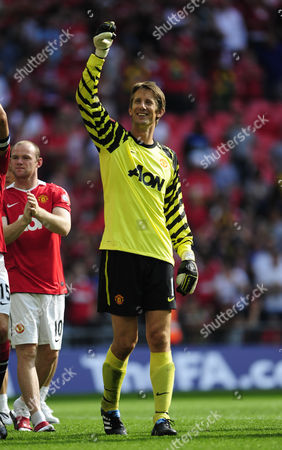 Edwin Van Der Saar of Manchester United Celebrates at the End of the Match United Kingdom London