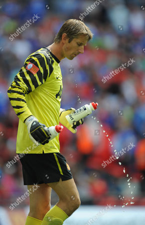 Edwin Van Der Saar of Manchester United Spits out Some Water United Kingdom London