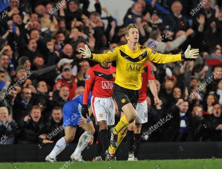 Edwin Van Der Saar of Manchester United Leads the Protest After John Terry's Goal United Kingdom London