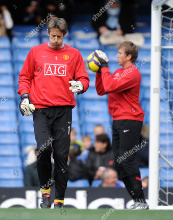 Edwin Van Der Saar and Tomask Kuszczak of Manchester United During the Warm Up United Kingdom London