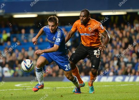 Cesar Azpilicueta of Chelsea in Action with Ronald Zubar of Wolverhampton Wanderers United Kingdom London