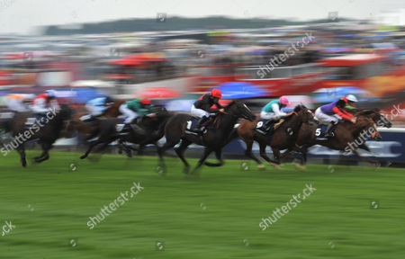 History Lesson Owned by the Queen Far Right Number 5 Runs On to Claim Fourth Place in the Opening Race the Investec Sir Clement Freud Memorial Stakes United Kingdom London