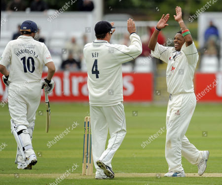 Stock Picture of Makhaya Ntini of Kent Ccc Celebrates the Final Durham Ccc Wicket with Captain Robert Key That of Steve Harmison As He Takes Six Wickets in the Innings and Ten in the Match United Kingdom Durham