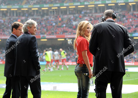 Manager of England Fabio Capello and Assistant Franco Baldini Check out Miss Wales Courtenay Hamilton Who Sang the National Anthems United Kingdom Cardiff
