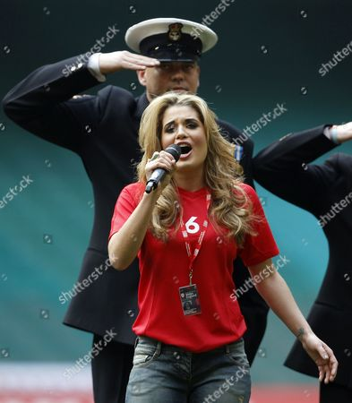 Current Miss Wales Courtenay Hamilton Sings the National Athems United Kingdom Cardiff