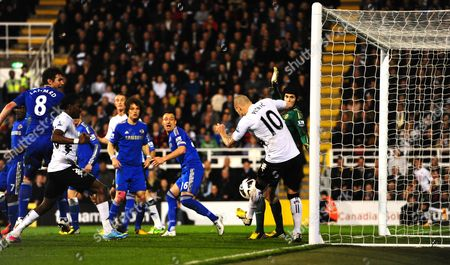 Mladen Petric of Fulham Misses From A Yard out and Hits the Ball Over Seconds Before Chelsea Scored Their Third Goal at the Other End United Kingdom London