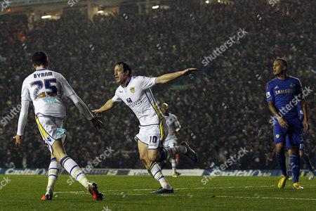 Luciano Becchio of Leeds United Celebrates Scoring the Opening Goal of the Game United Kingdom Leeds