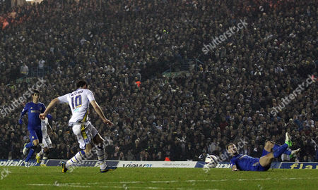 Luciano Becchio of Leeds United Scores the Opening Goal of the Game United Kingdom Leeds