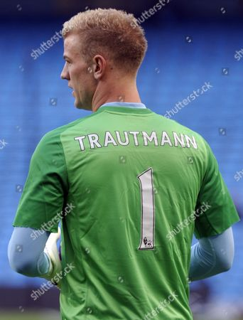 Stock Photo of Goalkeeper Joe Hart of Manchester City and England Wears A Goalkeepers Jersey in the Memory of Bert Trautmann Legendary Manchester City Goalkeeper United Kingdom Manchester