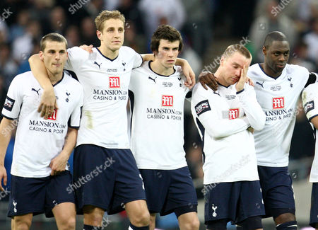 Stock Picture of Tottenham Penalty Missers David Bentley (l) and Jamie O'hara (r) Stand with Their Team Mates Before Losing the Carling Cup On A Shoot out United Kingdom London
