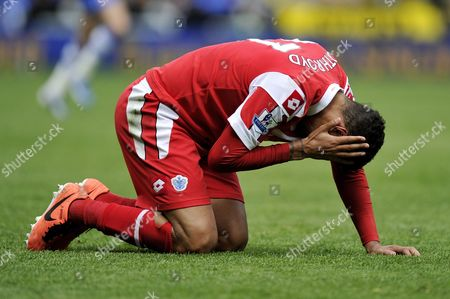 Jay Bothroyd of Qpr Holds His Head After Being Hit United Kingdom Reading