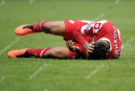 Jay Bothroyd of Qpr Lays On the Ground Holding His Head United Kingdom Reading