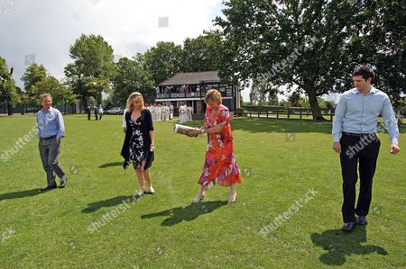 Trevor Bailey Cbe Has His Ashes Scattered On the Outfield at Westcliff On Sea Cricket Club by His Daughter Sharon Rowlingson Watched by Other Family Members