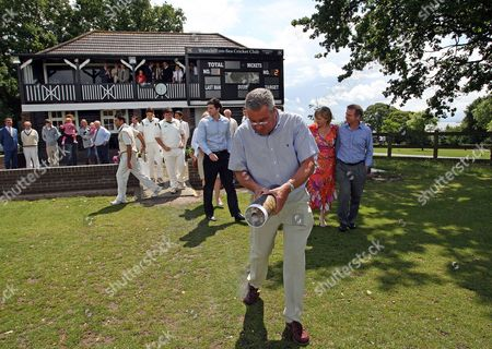 Trevor Bailey Cbe Has His Ashes Scattered On the Outfield at Westcliff On Sea Cricket Club by His Son Kim Bailey Watched by Other Family Members