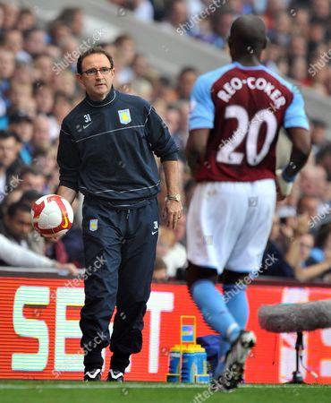 Aston Villa Manager Martin O'neill Throws the Ball to Nigel Reo-coker United Kingdom Birmingham