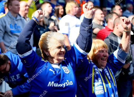 Two Elderly Female Cardiff City Supporters Celebrate After Marlon King of Birmingham City Misses His Penalty United Kingdom Birmingham