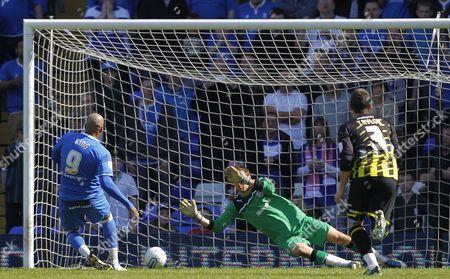 Marlon King of Birmingham City Has His Penalty Saved by Cardiff City Goalkeeper David Marshall United Kingdom Birmingham