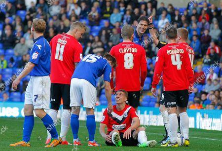 Nikola Zigic of Birmingham City is Shown A Straight Red Card by Referee Andy D'urso United Kingdom Birmingham