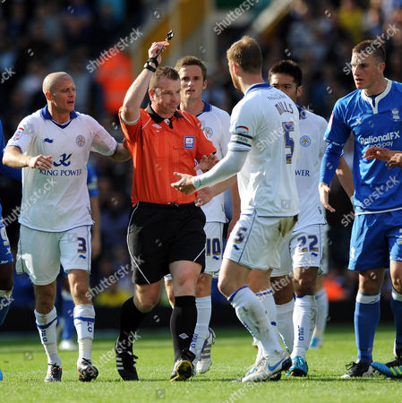 Fourth Official Kevin Wright Sends of Matt Mills of Leicester City United Kingdom Birmingham