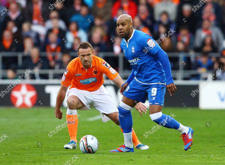 Marlon King of Birmingham City and Ian Evatt of Blackpool United Kingdom Blackpool