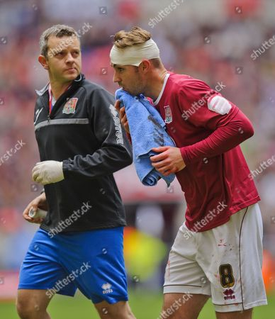 Ben Harding of Northampton Town is Taken Off the Field For Medical Treatment United Kingdom London