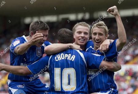 Ipswich Town Celebrate Their Third Goal Scored by Michael Chopra United Kingdom Bristol