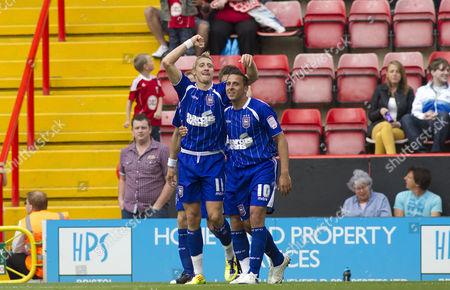 Ipswich Town Midfielder Lee Martin Celebrates Scoring His Goal to Make the Score 0-2 with Fellow Goalscorer Michael Chopra United Kingdom Bristol