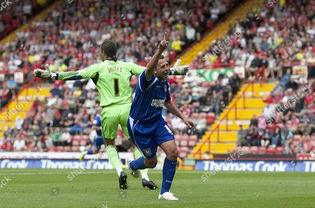 Ipswich Town Striker Michael Chopra Celebrates Scoring His Goal to Make the Score 0-3 United Kingdom Bristol