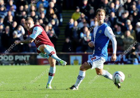 Kieran Trippier of Burnley and Morten Gamst Pedersen of Blackburn Rovers United Kingdom Burnley