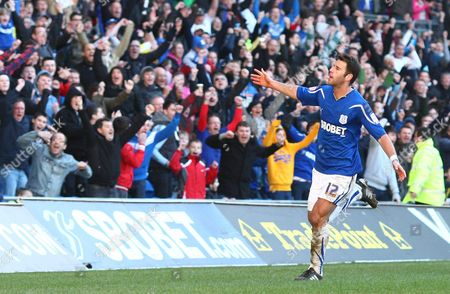 Cardiff Defender Dekel Keinan Celebrates Scoring His Goal to Make the Score 2-1 United Kingdom Cardiff
